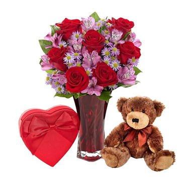 """Say it with Love"" flower bouquet, plush brown bear and Harry London chocolates (BF385-11KMBNDL)"